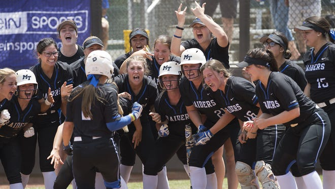 Members of the MTSU softball team celebrate as Kirstyn Cuccia nears home plate after her go-ahead grand slam in the sixth inning of their game against top-seeded FAU in the Conference USA semifinals in Charlotte, N.C., on May 11, 2018.
