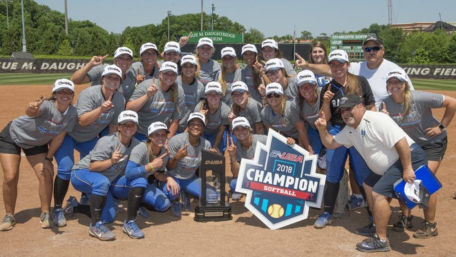 Playing in its first Conference USA tournament, the MTSU softball team won five straight games, culminating with a 7-6 win over top-seeded FAU, to claim the conference championship and secure a bid to the NCAA tournament May 12, 2018, in Charlotte, N.C.