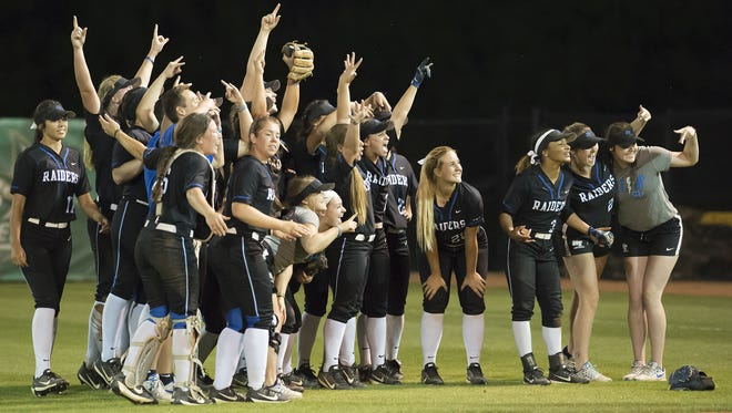 The No. 6 MTSU softball team celebrates after defeating No. 3 FIU in the Conference USA tournament on May 9.