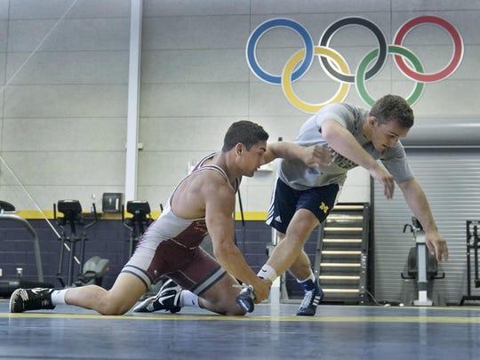 Training on Tuesday are Canton native Alec Pantaleo