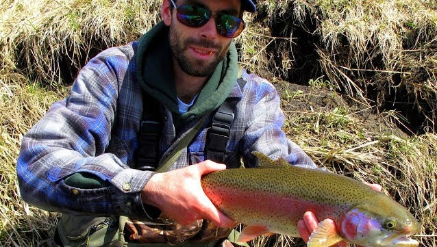 This big rainbow loved a sculpin helmet and seriously hammered it.