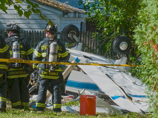 First responders at the scene of a plane crash in Lindenwold.