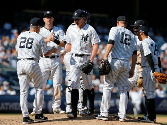 Aug 30, 2017; Bronx, NY, USA;  New York Yankees manager