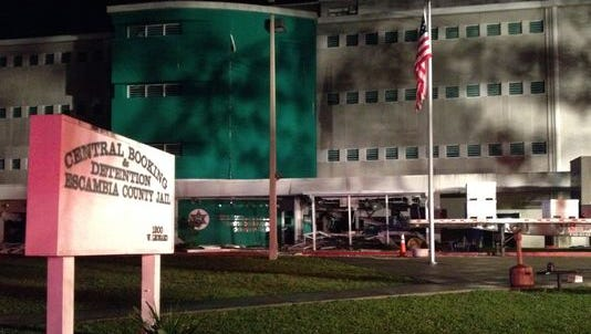 An explosion caused damage to the walls, roof and structure of the Escambia County jail just before midnight Tuesday night.