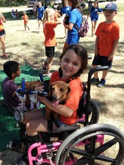 Ashley Allison has a bonding moment with Dusty, a dachshund whose back was broken as a puppy and gets around using a two-wheel apparatus because his back legs are paralyzed at the West Texas Rehab Center Camp on June 14. Cassie's Place set up a puppy petting station at the camp this year.