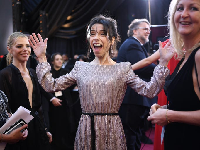 Sally Hawkins arrives at the 90th Academy Awards.