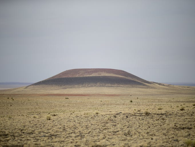 Roden Crater, April 10, 2018, is located northeast