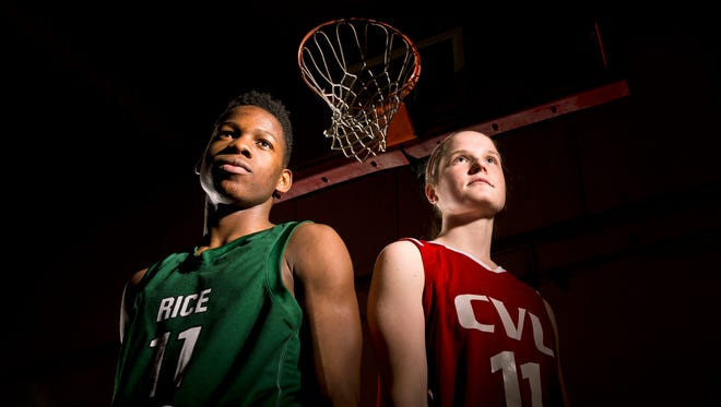 Rice's Ben Shungu, left, and CVU's Laurel Jaunich are the Burlington Free Press' 2015 Mr. and Miss Basketball.