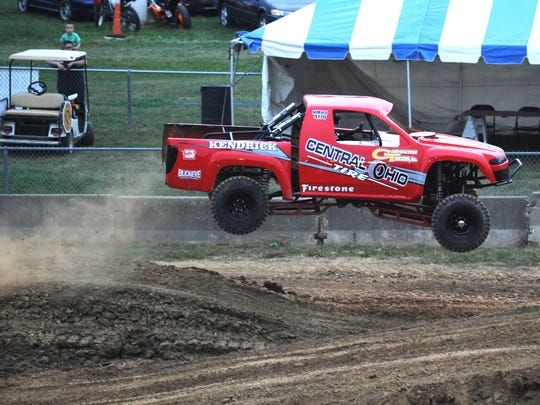 Nick Anderson of Zanesville takes part in the rough truck competition at the Muskingum County Blue Ribbon Fair.