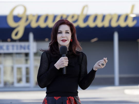 Priscilla Presley speaks during the grand opening of