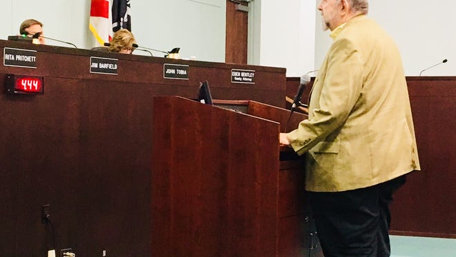 John Windsor of Melbourne, a professor emeritus of oceanography and environmental science at Florida Institute of Technology, addresses Brevard County commissioners in support of the five-month moratorium on the installation of conventional septic tanks on the beachside, on Merritt island and within 50 meters of the Indian River Lagoon..