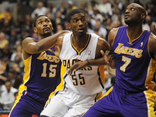 Roy Hibbert (center) had an up and down Pacers career.