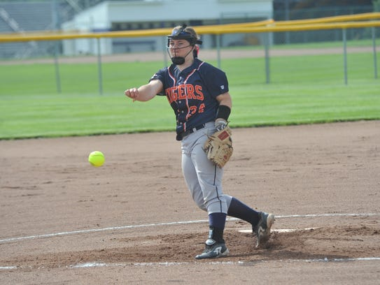 Madelyn Thomas pitches against Clear Fork in the district