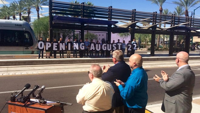Mesa announced the light-rail extension into downtown Mesa will open Aug. 22, ahead of its projected March 2016 completion date.