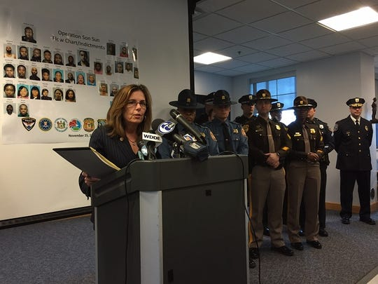 State prosecutor Kathleen M. Jennings speaks at a press conference Wednesday.
