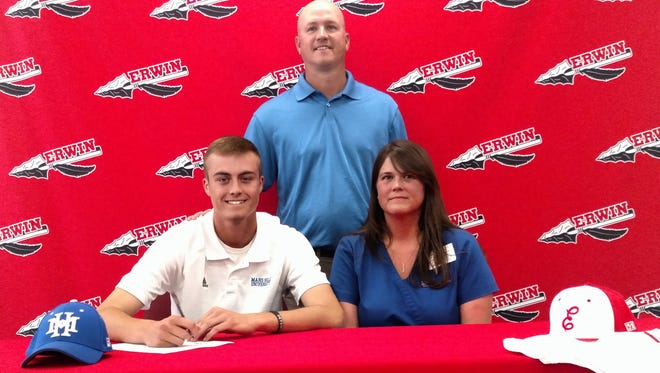 Erwin's Tyler Anders signed with Mars Hill baseball today