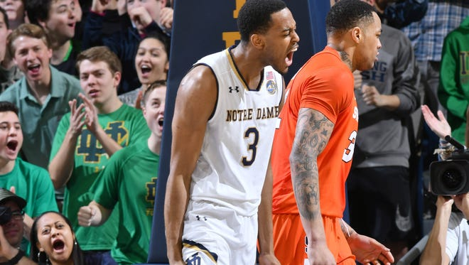 Jan 21, 2017; South Bend, IN, USA; Notre Dame Fighting Irish forward V.J. Beachem (3) reacts after a dunk in the first half against the Syracuse Orange at the Purcell Pavilion. Mandatory Credit: Matt Cashore-USA TODAY Sports