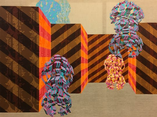 """A detail of Nathan Wasserbauer's """"Panoramix Coda I"""" diptych."""