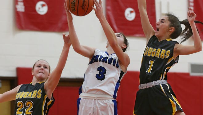 Honeoye Falls-Lima's Maddy Meehan, left, and Laney Sullivan, right, go for a block in last year's Section V semifinals against Batavia. Sullivan graduated but Meehan is one of the veterans on this year's top-seeded squad in  Class A2.