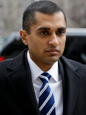 Mathew Martoma shown arriving at the Manhattan federal courthouse on Jan. 16, 2014 during his trial on insider trading charges.