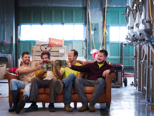 13 Stripes Brewery co-owners Michael Robinson, Jeremy Bailey, Robbie Andrews, and Aaron Robinson pose for a portrait at their location in Taylors Mill on Monday, March 6, 2017.