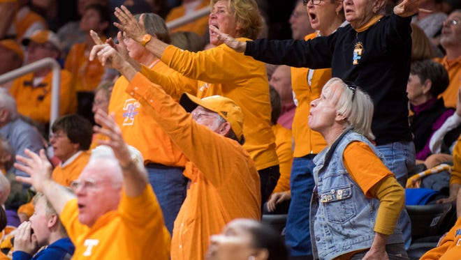 Tennessee fans react to a call during a home basketball game against Texas at Thompson-Boling Arena on Sunday, Dec. 10, 2017.