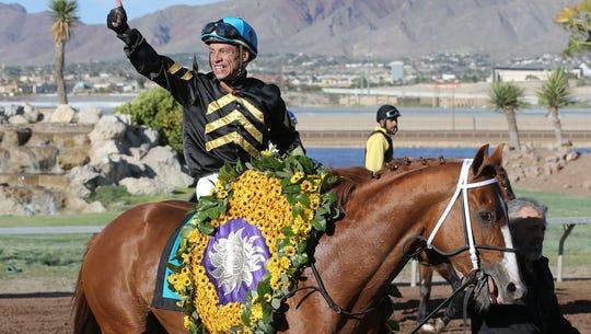 Alfredo Juarez Jr. celebrates his Sunland Derby win