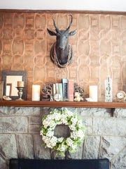 The stone fireplace was built with rocks from the construction of the Blue Ridge Parkway.
