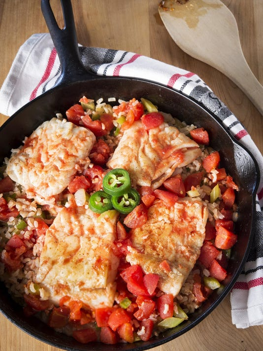 THis one-skillet recipe for Louisiana fish and rice is healthy and zesty