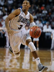 Troy's Wesley Person (3) drives against Ole Miss at Trojan Arena in Troy, Ala. on Monday November 17, 2014.
