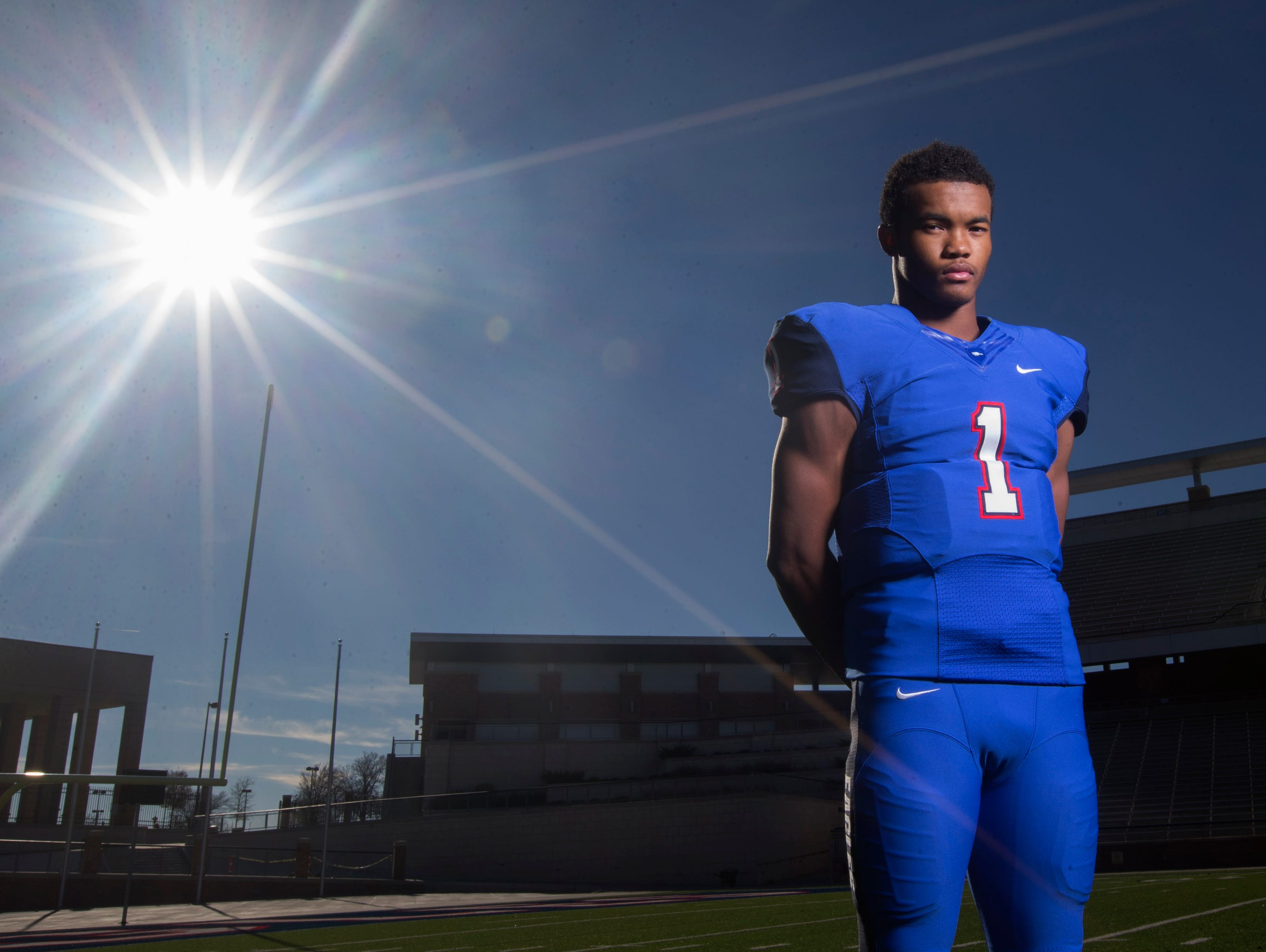 Dec 15, 2014; Allen, TX, USA; Kyler Murray of Allen high school poses for a portrait. He is the USA TODAY high school offensive player of the year. Mandatory Credit: Kevin Jairaj-USA TODAY Sports
