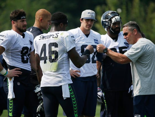 Seattle Seahawks tight end Tyrone Swoopes (46) gets
