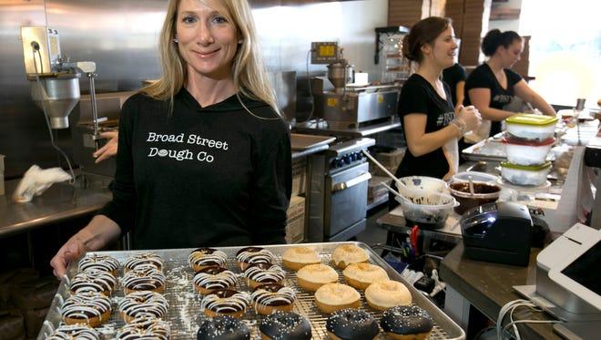 Broad Street Dough Co. in Ocean Twp. owner Desdemona Dalia with her doughnuts—December 31, 2015-Ocean, NJ.-Staff photographer/Bob Bielk/Asbury Park Press