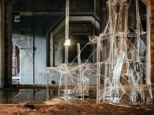 """Gambler II,"" a sculpture created with melted acrylic tubes by German artist Viktoria Strecker, which part of ""Modes of Construction,"" an art exhibition at the Moran Plant in Burlington until Aug. 28."