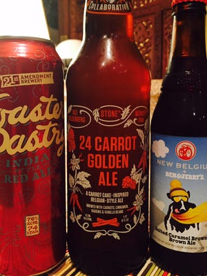 Three dessert-inspired beers, Toaster Pastry India-style Red Ale, 24 Carrot Golden Ale, and New Belgium Ben & Jerry's Salted Caramel Brownie Brown Ale.