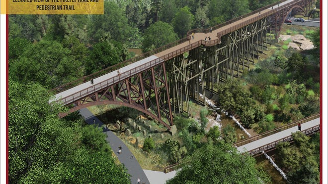 An artist's conception of what the Firefly Trail bridge will look like from above.