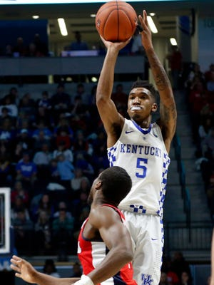 Kentucky guard Malik Monk (5) scored 34 points, which led all scorers, on 16 shots against Ole Miss.