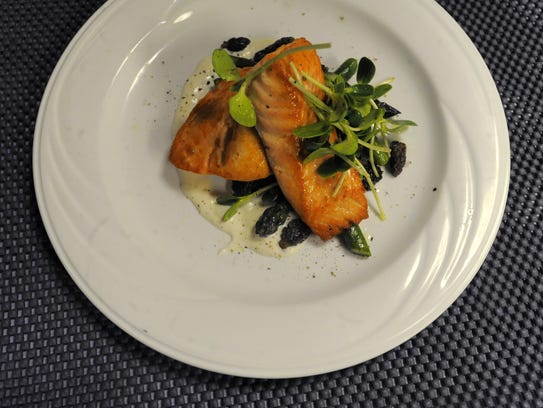 A seared Alaskan King Salmon. Though the fare at Craft