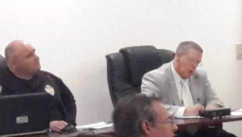 The York City Council and business administrator Michael Doweary listen to York City Police Chief Wes Kahley's budget requests.