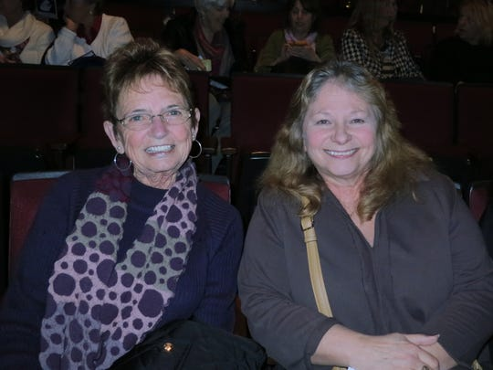 "Diane Davis, left, and Barbara Brown, both of Red Bluff, attend the comedy play ""The Game's Afoot: Holmes for the Holidays"" on Jan. 22 at the Riverfront Playhouse in Redding."