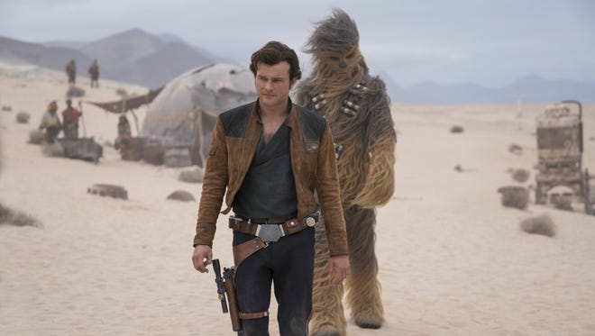 "Alden Ehrenreich is Han Solo and Joonas Suotamo is Chewbacca in ""Solo: A Star Wars Story."""