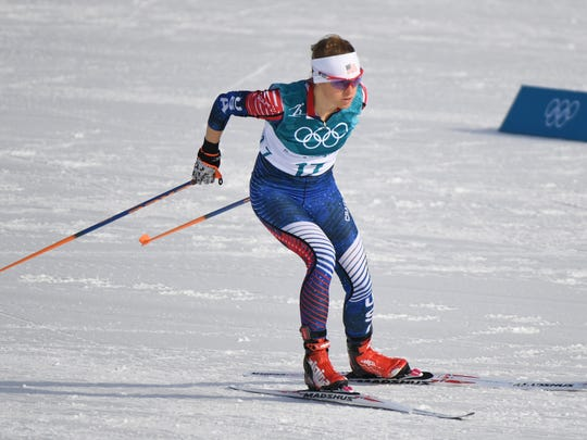 Liz Stephen (USA) competes during the ladies cross country 10km freestyle Pyeongchang 2018 Olympic Winter Games at Alpensia Cross-Country Centre on Feb. 15, 2018.