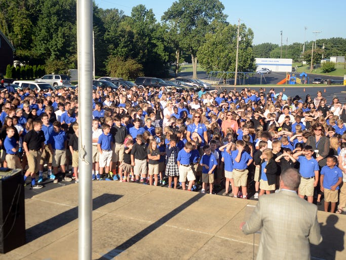 A school-wide devotional and flag-raising ceremony was held at Jackson Christian, Wednesday.