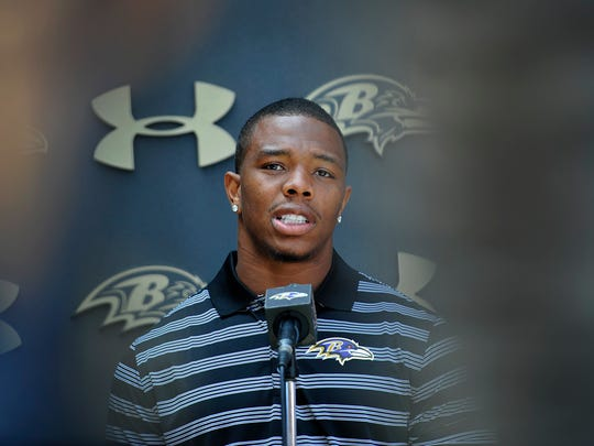 Baltimore Ravens running back Ray Rice answers question during a news conference after NFL football training camp practice, Thursday, July 31, 2014, in Owings Mills, Md.(AP Photo/Gail Burton)