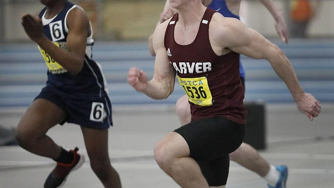 Zack Fisher of Carver powers up at the start of the 55 meter dash. He won the event at the South Shore League Indoor Track Championships at the Reggie Lewis Center, Boston on Thursday Jan. 30, 2020.