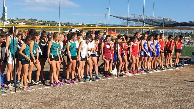 The girls get ready to take off at the Silver High Cross Country Invitational on Saturday.