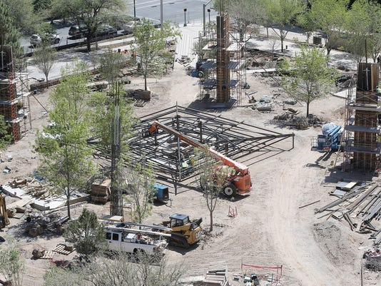 In this April 14 photo - The shade canopy and its supports can be seen at San Jacinto Plaza.