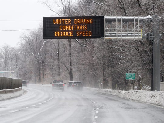 An electronic sign warns drivers of treacherous conditions Monday along Route 22 in North Plainfield.