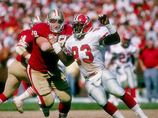 Aundray Bruce (93) played 11 NFL seasons after the Atlanta Falcons picked him first overall in 1988.