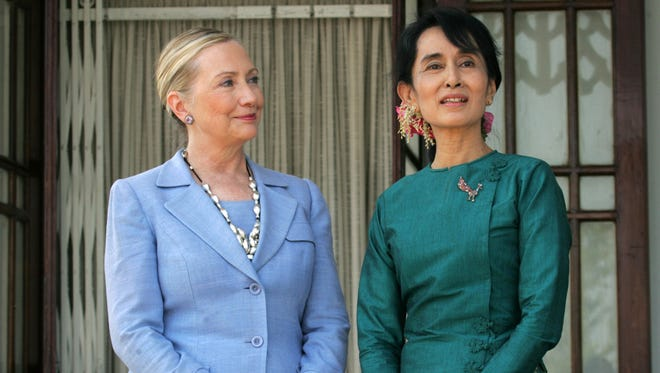 Secretary of State Hillary Clinton and Nobel laureate Aung San Suu Kyi in Myanmar, in 2011.